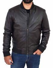 Mens Bomber Soft Black Leather Jacket Classic Varsity Slim Fit College Boy Coat