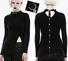 Pull haut gothique punk lolita fendu collier lien rivet fétiche fashion Punkrave