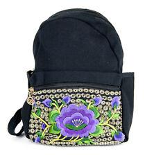 45e86aebc Mochila Bolso Bolsa Thai Bordado Hippie Mujer Flor de Loto azul violeta