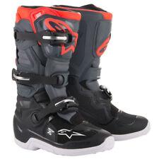 Nuevo ALPINESTARS TECH 7s jóvenes niños Mx Motocross Botas-Negro/Gris Oscuro/Rojo Fluo