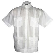blanco para Guayabera Camisa 100% Forrado Con Cuatro BOLSILLOS Nuevas Tallas