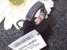 Echt 925 Silber Ring Pierre Cardin Zirkonia schwarz eckig massiv Bandring Damen