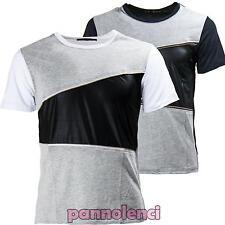 Maglietta uomo maglia ecopelle maniche corte ZIP slim fit t-shirt nuova BD-16046