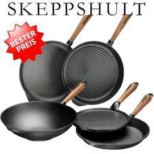 Skeppshult Pfanne Grillpfanne Wok Servierpfanne Gusseisen Holz/Walnuss/Edelstahl