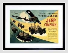 Guerra de propaganda campaña de jeep Segunda Guerra Mundial USA Escuela Negro Impresión Arte Enmarcado B12X7166