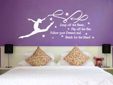 "Gymnastics Wall Quote ""Follow Your Dreams..."" , Vinyl Wall Art Transfer Sticker"