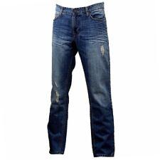 Calvin Klein Men's Cotton Five-Pocket Blue Slim Straight Destructed Jeans