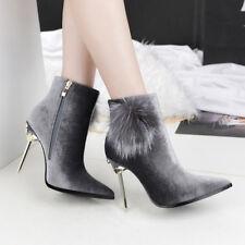stivali stivaletti bassi stiletto 11 cm caviglia grigi eleganti simil pelle 9546