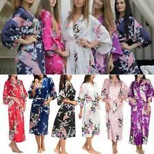 UK Silk Satin Kimono Robe Dressing Gown Wedding Bridesmaid Bathrobe Sleepwear