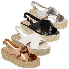 Ladies Platform Rope Sandals Womens Espadrilles Wedge Strap Buckle Shoes Summer