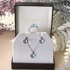 Goldmaid Kette,Ring oder Ohrring mit echtem Topas Farbstein blau Echtschmuck