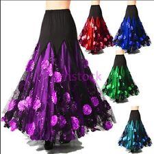 Womens Paillette Tango Waltz Modern Dance Ballroom Full Length Dance Skirt e-117