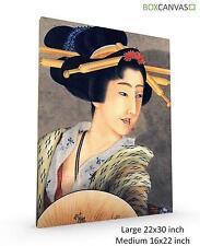 Lienzo de arte japonés S5 Arth Hokusai 24 retrato de una mujer sosteniendo un ventilador