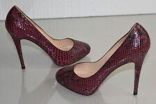 NEW Christian Louboutin DECLIC 120 PYTHON Burgundy Pump HIDDEN PLATFORM Shoes 41