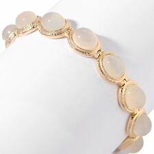 Technibond Framed Moonstone Cabochon Gemstone Bracelet 14K Gold Clad Silver 925