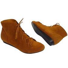 Señoras MARRÓN BRONCEADO lazada encajada talón Boho de imitación de gamuza Botas Zapatos Uk tamaños 3-9