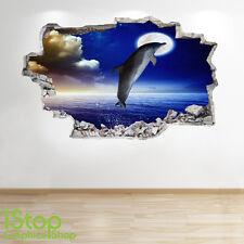 Adesivo Parete Delfino NOTTE 3d Look-Oceano Pesci Tropicali oblò Beach z184