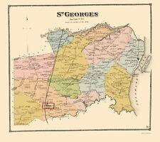 Old City Map - St Georges Delaware Landowner - Beers 1868 - 23 x 25.84