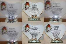 Robin Heart Festive Christmas T light Memorial Ornament Mum Dad Someone Special