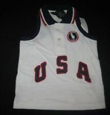 RALPH LAUREN toddler girls 2T white sleeveless polo shirt tank top Team USA NEW