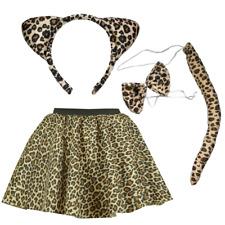 """Girl Leopard Fancy Dress COSTUME 12"""" SKIRT Set Ears Tail SCHOOL Dress Up DAY"""