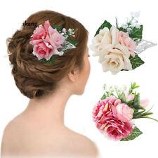 FIORE DI ROSA spilla capelli clip FASCIA FERMAGLIO festa nozze sposa donna