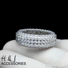 MEN 925 STERLING SILVER FULL ICED LAB DIAMOND 9MM WEDDING BAND RING*ASR93