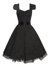 Womens 1950's Vintage Style Black Polka Dot Bow Front Swing Tea Dress New 8 - 20
