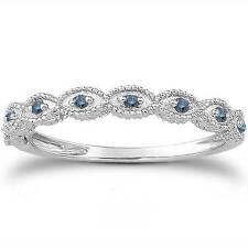 1/10ct Vintage Blue Diamond Engagement Ring Set 14K White Gold