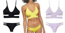 NEU H&M Bustier Bikini Cut out lila schwarz gelb 34 36 38 40 Cups herausnehmbar