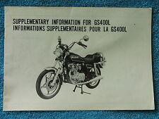 1979 79 SUZUKI GS400 GS 400 GS400L 400L L SUPPLEMENTARY INFORMATION