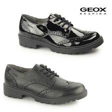 GEOX JR CASEY Girls Patent/Leather Uniform Lace Up School Shoes Brogues Black