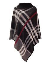 new womens cowl neck button poncho shawl black check print  cape