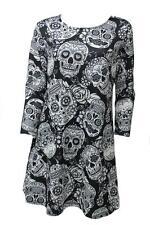 Ladies Halloween Sugar Skull 3/4 Sleeve New Plus Size Novelty Party Swing Dress