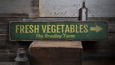 Fresh Vegetables Arrow, Custom Family - Rustic Distressed Wood Sign ENS1001762