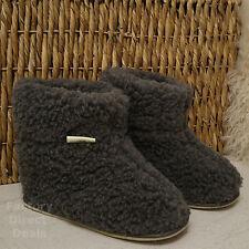 100% laine de mouton bottes pied confortable pantoufles en peau de mouton sole dur Femme Homme Gris