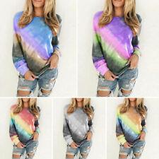 Plus Size Women Gradient Tie Dye Long Sleeve Top Pullover Sweatshirt T-Shirt