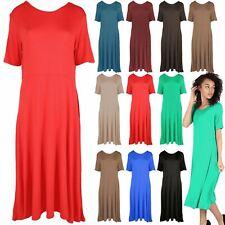 Womens Short Cap Sleeve Midi Ladies Plain ALine Skater Swing Length Flared Dress