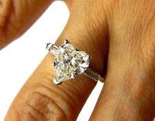 Women's Stainless Steel Heart & Baguette CZ Wedding Promise Engagement Ring