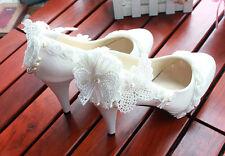 Escarpin éscarpins chaussures pour femmes ballerine blanc jeune mariée dentelle