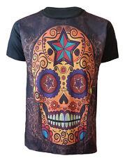 Sugar Skull T-Shirt,Tattoo/Rock/Metal/Day Of Death/Mexican Skull/Goth/Top/Tee
