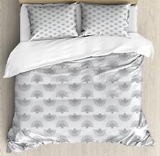 Geometric Duvet Cover Set with Pillow Shams Japanese Fan Pattern Print