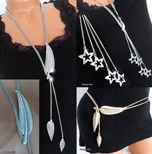 Damen Kette Halskette Damenkette Blatt o. Sternchen Anhänger Modeschmuck Ketten