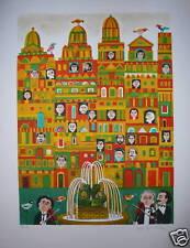 Margerin Lithographie originale signée sur velin art naïf Paris