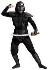 Ninja Master Child Boys Costume Black Skull Mask Hood Halloween Funworld