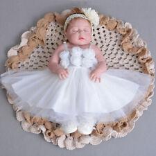 Elegante Encaje BAUTIZO Vestido 3d Flor Bautizo Bata Bautismo de bebé vestido