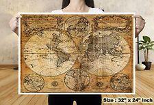 World Map Globe Navigation Silk Canvas Fabric Poster Tapestry Bar Wall Decor 39