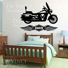Motorcycle Chopper Bike Wings Wall Room Custom Name Vinyl Wall Decal Sticker