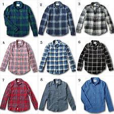 NWT Hollister-Abercrombie Mens Classic Plaid Stretch Flannel Shirt Poplin Shirt