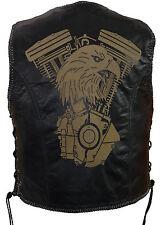 Uomo in pelle Gilet LASER Patch Biker Pelle tonaca Rocker Gilet Club Gilet Custom